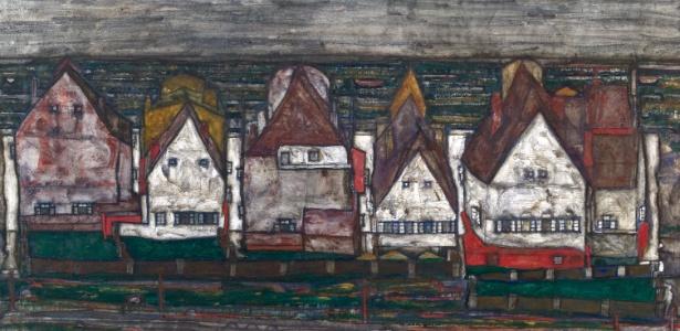 """Imagem da obra """"Haeuser am Meer"""" (Casas ao Mar), de Egon Schiele, recuperada pelo museu Leopold - EFE/Leopold Museum"""